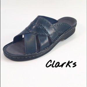 Clarks Leather Slide On Sandals
